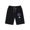 Cartoon Bubble Whale Printed Summer Mens Sport Loose Cotton Running Sweat Shorts