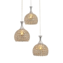 Dining Room Lighting Globes with Hanging Cord, Adjustable  Chrome Pendant Light with Clear Crystal Modern