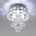 Living Room Flush Mount Clear Crystal 3 Lights Modern Chandelier in Chrome/Gold