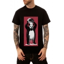 Trendy Cartoon Panda Pattern Men's Summer Black Loose Fit T-Shirt