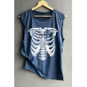 Basic Round Neck Sleeveless Skull Printed Loose Casual Tank Top
