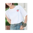 Women's Fashion Rose Embroidered Short Sleeve White Cotton Tee