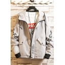 New Trendy Fashion Letter Printed Long Sleeve Flap Pocket Drawstring Hooded Zip Up Casual Jacket for Men