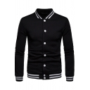 Fashion Stripe Trim Rib Stand Collar Lattice Texture Button-Down Fitted Baseball Jacket for Men