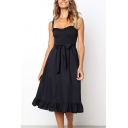 Summer Trendy Plain Sleeveless Bow-Tied Waist Midi A-Line Dress