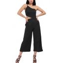 Women's Sexy Plain Spaghetti Straps Sleeveless Wide Leg Jumpsuit