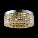 Drum Living Room Flush Mount Light Fixture Amber Crystal LED Antique Ceiling Lighting, White/Warm, H6