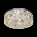 Drum Ceiling Light Fixture for Living Room 6-Light Vintage Style Clear Crystal Flush Mount Lighting, 6