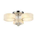 Living Room Drum Semi Flush Light Acrylic Modern Style Ceiling Lighting with Clear Crystal Decoration