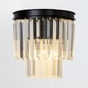 1/2-Light Tiers Sconce Lighting Modern Style Clear Crystal Wall Mount Light Fixture in Black