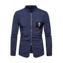 Cool Skull Applique Chest Stand Collar Long Sleeve Zip Up Plain Slim Shirt for Men