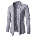 Unique Cool Open Front Shawl Collar Solid Color Ripped Torn Cardigan for Men