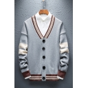 Mens Vintage Colorblock Stripe Trim V-Neck Button Front Casual Knit Cardigan