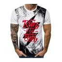 Mens Cool Lightning Letter RUN FOR FUN Print Slim Fit Short Sleeve T-Shirt