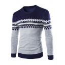 Men's Trendy Geometric Printed Jacquard Crewneck Long Sleeve Fitted Sweater