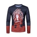 Funny Cartoon Santa Claus Long Sleeve Round Neck Slim Fit Navy T-Shirt for Men