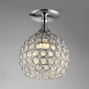 Modern Pendant Lighting for Dining Room, Height Adjustable Chrome Ball Clear Crystal Pendant Lights with Hanging Cord