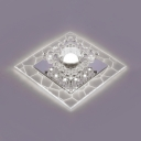 Clear Crystal Square Flush Mount Lighting Contemporary Ceiling Fixture in Chrome