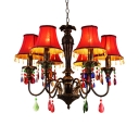 Red/Blue/Green/Yellow Tapered Chandelier 6 Lights Colorful Metal Pendant Light for Living Room