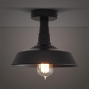 1 Light Semi-Flush Ceiling Fixture in Black