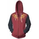 Game of Thrones Cool 3D Printed Cosplay Costume Long Sleeve Zip Up Black and Red Drawstring Hoodie