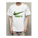 Funny Comic Letter PICKLE IT Logo Printed Short Sleeve Basic White Graphic Tee