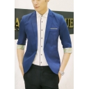 Men's Peak-Lapel Half Sleeve Patchwork Single Button Stylish Blazer Jackets