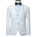 Fancy Floral Pattern Long Sleeve Shawl Collar Single Button White Blazer Tuxedo Suit for Men