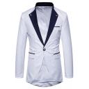 Men's Fashion Colorblock Lapel Collar Long Sleeve Slim Fit Tuxedo Jacket