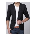 Men's Simple Plain Peaked Lapel Single Button Long Sleeve Split Back Slim Business Suit Blazer