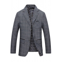 Trendy Plaid Print Notched Lapel Double Button Long Sleeve Flap-Pockets Casual Blazer Coat for Men