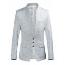 Unique Printed Stand Up Collar Long Sleeve Button Front Slim Fitted Blazer Suit for Men