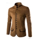 Men's Single-Breasted Stand Up Collar Long Sleeve Chinese Style Blazer Suit