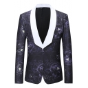 Colorblock Shawl Collar Allover Floral Pattern Long Sleeve Single Button Purple Tuxedo Blazer for Men