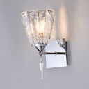 Trapezoidal Dining Room Sconce Light Clear Crystal Modern Wall Light Fixture in Chrome