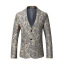 Unique Ethnic Style Printed Long Sleeve Notched Lapel Double Button Mens Khaki Suit Blazer