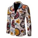 Ethnic Floral Print Long Sleeve Double Button Notched Lapel Mens Khaki Linen Blazer Suit