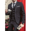 Mens Trendy Long Sleeve Single Breasted Notched Lapel Wedding Suit Set for Groom