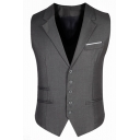 Men's Plain Single Breasted Notched Lapel Buckle Back Slim Fit Suit Vest