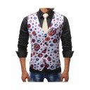 Funny Allover Print Single Breasted Belt Back Design Slim Fit Suit Vest for Men
