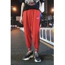 Mens Street Style Letter Pattern Tape Side Elastic Waist Unisex Casual Track Pants