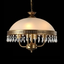 Vintage Brass Hanging Pendant with Domed Shape 4 Lights Glass Hanging Lights for Living Room