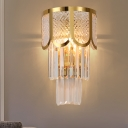 Contemporary Wall Light Metal 3 Lights Brass Sconce Light with Clear Crystal for Bathroom