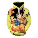 Comic Anime Figure Print Long Sleeve Athletic Drawstring Yellow Hoodie