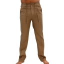 Retro Chinese Style Basic Solid Color Button Fly Tied Waist Linen Mens Straight Trousers