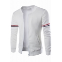 Mens New Fashion Stripe Tape Patched Long Sleeve Stand Collar Zip Up Jacket