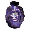 Popular 3D Galaxy Mouth Diamonds Printed Purple Pullover Drawstring Hoodie