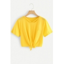 Fashion Solid Color Short Sleeve Tied Hem Cropped T-Shirt