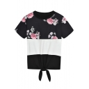 Stylish Floral Printed Colorblocked Short Sleeve Tied Hem Casual Black T-Shirt