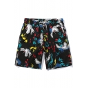 Summer Tropical Floral Crane Print Drawstring Waist Mens Black Cotton Beach Swim Shorts